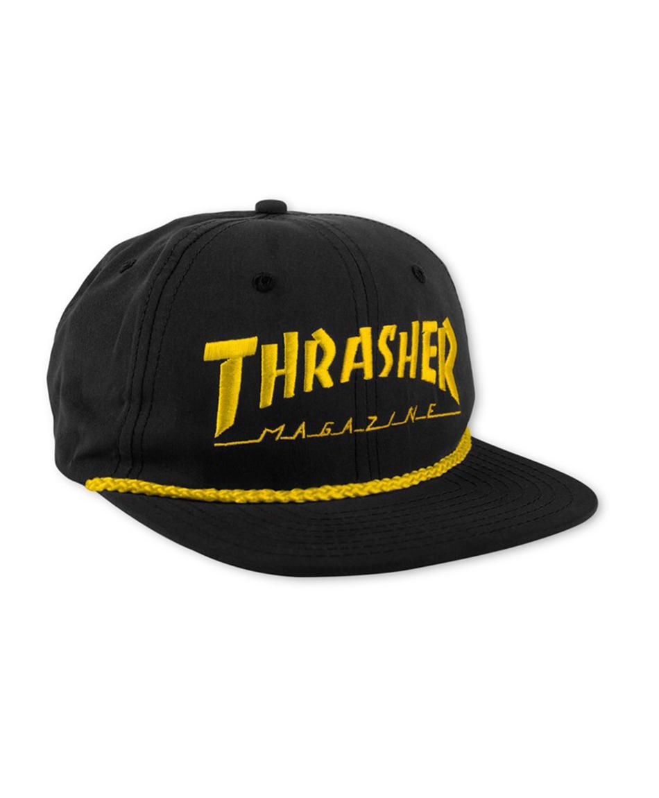 HATS- THRASHER ROPE SNAPBACK HAT BLACK YELLOW - www.colorskates.com 7e047b9eabfd