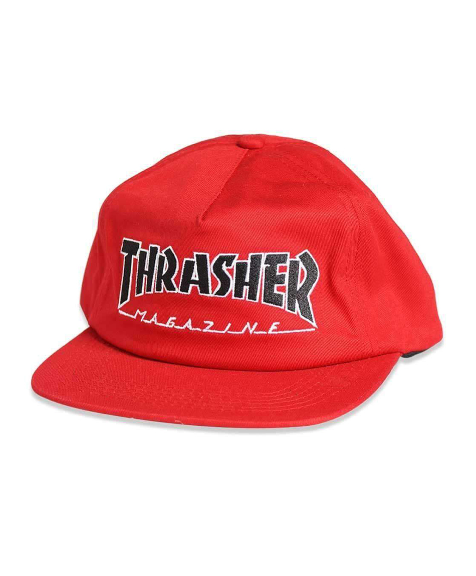 THRASHER OUTLINED SNAPBACK HAT RED  76914bc4b43d